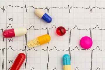 Tabletten auf einem EKG