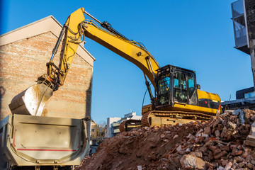 Baustelle beim Abbruch eines Hauses