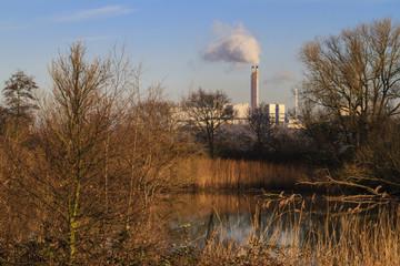 Waste burning refinary landscape