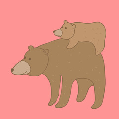 cute bear with cub, vector illustration, hand drawn