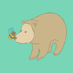 cute bear with bee on the nose, vector illustration, hand drawn
