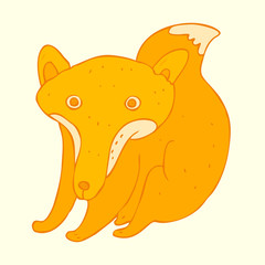 cute fox cartoon vector illustration, hand drawn