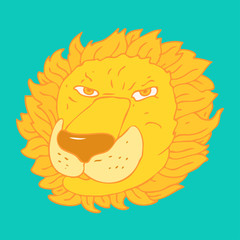 Cute lion head cartoon vector illustration, hand drawn