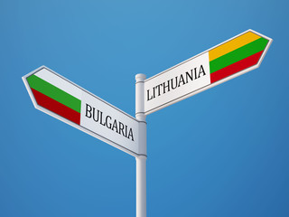 Lithuania Bulgaria  Sign Flags Concept