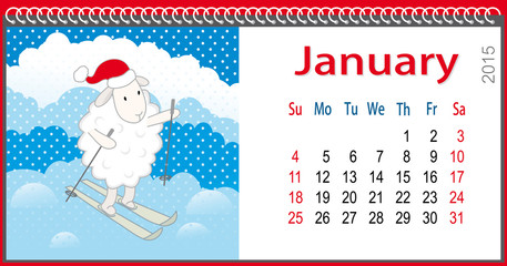 Calendar for January and lamb skiing
