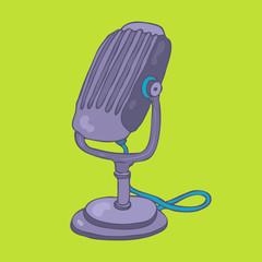 vintage studio purple microphone vector illustration