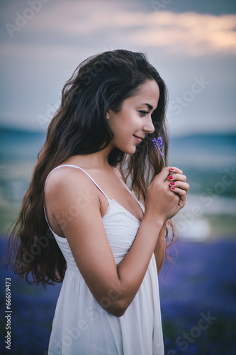 Beautiful young woman posing in a lavender field - 66659473