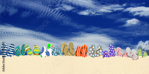 canvas print picture Summer holidays, office shoes colored flip flops, travel