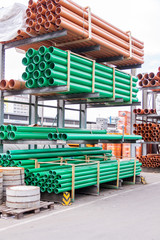 Plastic pipes in a factory or warehouse yard