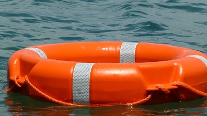A lifebuoy on the water surface