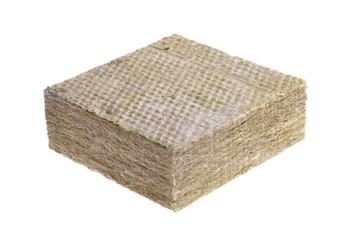Thermal insulation  -mineral wool  isolated on white background
