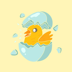 newly hatched chick vector illustration, hand drawn