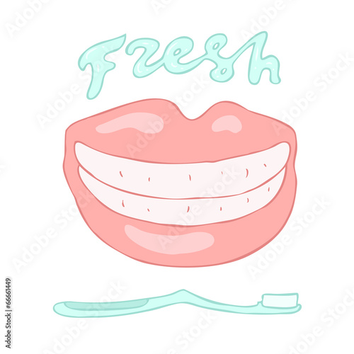 toothbrush and beautiful smile (fresh breath) vector
