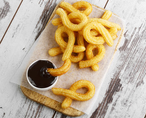churros with chocolate sweet dessert