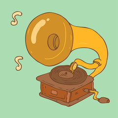 vintage record player (gramophone) vector illustration
