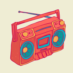 vintage boombox (recorder) vector illustration, hand drawn