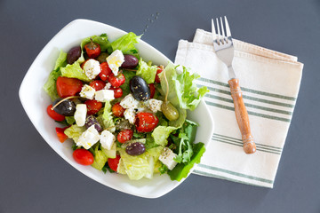 Bowl of freshly seasoned Mediterranean salad