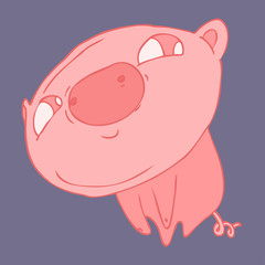 funny piglet interested vector illustration, hand drawn