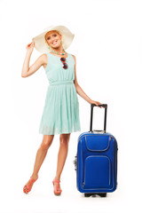 happy woman with travel bag going to summer vacation on white