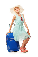 beautiful happy woman with travel bag going to summer vacation