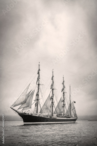 Old ship with white sales in black and white - 66662045
