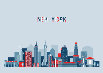 New York city architecture vector illustration, flat design