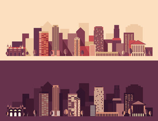 city, architecture megapolis, vector Illustration, flat design