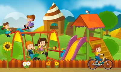 Kids on the playground - illustration for the children