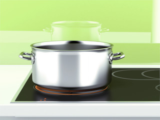Pan with induction stove
