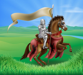 Knight on Horse in Field