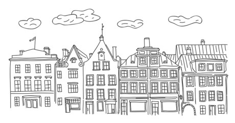Vector hand drawn old town houses and homes