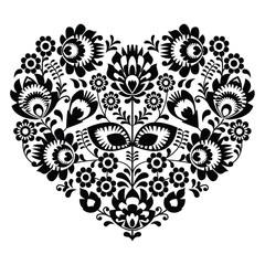 Polish folk art heart pattern in black - wzory lowickie