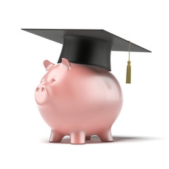 Piggy Bank with Black Graduation Hat