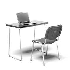 Chair and  office desk with laptop