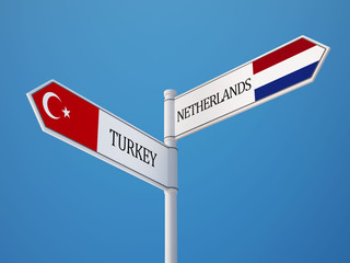 Turkey Netherlands  Sign Flags Concept