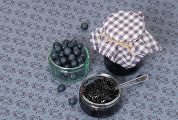 Blueberry Jam And Fresh Ripe Blueberries