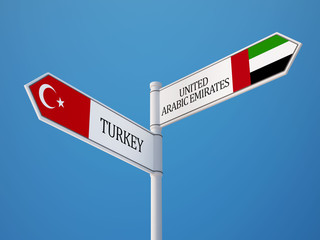 United Arab Emirates. Turkey  Sign Flags Concept