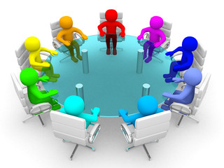 3d person of different colors at the conference table - 3d rende