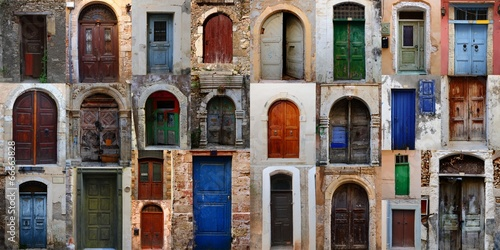 Collection of weathered doors in the old town of Chania  - 66663828