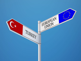 European Union Turkey  Sign Flags Concept