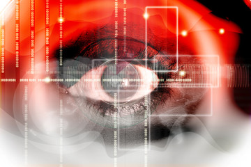 Human eye on technology design background