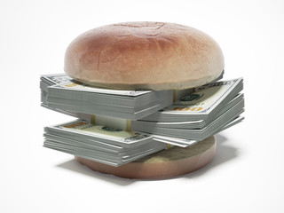 burger with dollar bills