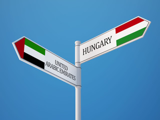 United Arab Emirates. Hungary  Sign Flags Concept