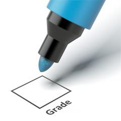 Grade box on an exam paper