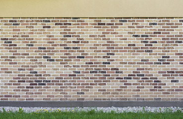 Wall from the made old brick with green grass and yellow flowers