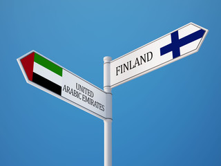 United Arab Emirates. Finland  Sign Flags Concept