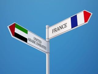 United Arab Emirates. France  Sign Flags Concept