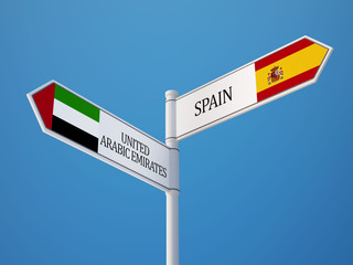 United Arab Emirates. Spain  Sign Flags Concept