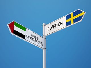 United Arab Emirates. Sweden  Sign Flags Concept