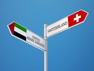 United Arab Emirates. Switzerland  Sign Flags Concept
